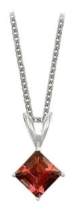 LoveBrightJewelry Square Cut Garnet Pendant Necklace in Sterling Silver. 1ct.tw.