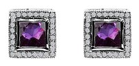 LoveBrightJewelry Square Faceted Cut Amethyst CZ Stud Earrings Silver