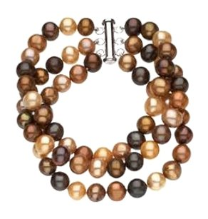 LoveBrightJewelry Sterling Silver and Freshwater Dyed Chocolate Cultured Pearl Triple Strand Bracelet 7.25 Inch/