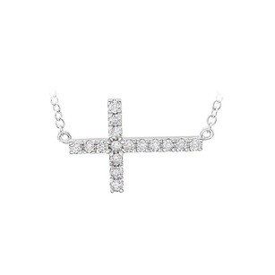 LoveBrightJewelry Sterling Silver CZ Horizontal Cross 18 inch Necklace