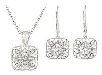 LoveBrightJewelry Sterling Silver Diamond Necklace and Lever Back Earrings Sets 0.10 CT TW