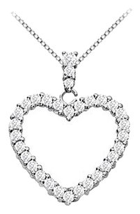 LoveBrightJewelry Sterling Silver Floating Heart Cubic Zirconia Pendant Necklace 1.25 CT CZ