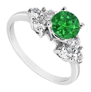 LoveBrightJewelry Sterling Silver Frosted Emerald and Cubic Zirconia Engagement Ring 0.75 CT TGW