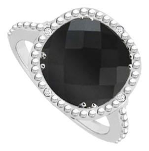 LoveBrightJewelry Sterling Silver Genuine Black Onyx and Cubic Zirconia Ring 2.05 CT TGW