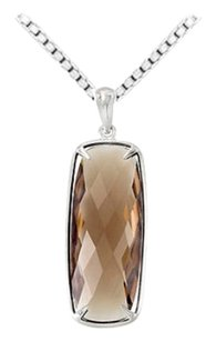 LoveBrightJewelry Sterling Silver Genuine Smoky Quartz Pendant 25.00 X 10.00 MM