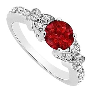 LoveBrightJewelry Sterling Silver GF Bangkok Ruby and Cubic Zirconia Engagement Ring 0.66 CT TGW