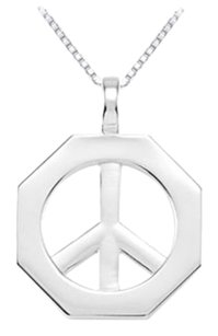 LoveBrightJewelry Sterling Silver Octagon Shaped Peace Sign Pendant