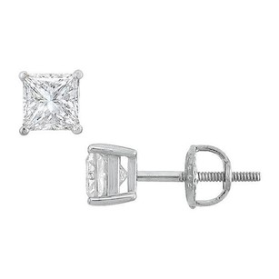 LoveBrightJewelry Sterling Silver Princess Cubic Zirconia Stud Earrings 1.00 CT. TGW.