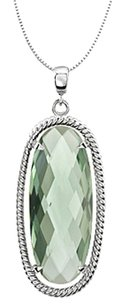 LoveBrightJewelry Sterling Silver Rhodium Plating Rope Design with Oval Green Quartz 18 Inch Necklace 25X10 MM
