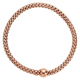 LoveBrightJewelry Sterling Silver Rose Gold Plated 4.3mm Woven Stretch Bracelet