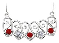 LoveBrightJewelry Sterling Silver Rubies and Cubic Zirconia Mothers Necklace Mounting