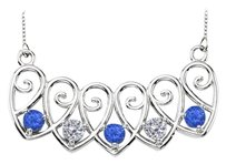 LoveBrightJewelry Sterling Silver Sapphire and Cubic Zirconia Mothers Necklace Mounting