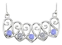 LoveBrightJewelry Sterling Silver Tanzanite and Cubic Zirconia Mothers Necklace Mounting