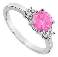 LoveBrightJewelry Sterling Silver Three Stone Created Pink Sapphire and Cubic Zirconia Engagement Ring1.25 CT TGW