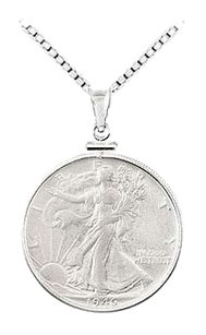 LoveBrightJewelry Sterling Silver Walking Liberty 1/2 Dollar Coin Set Into a Sterling Silver Coin Frame Pendant