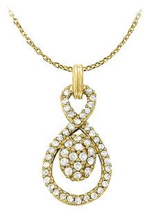 LoveBrightJewelry Stunningly Pretty Cubic Zirconia Pendant in 18K Yellow Gold Vermeil with Free 16 Inch Chain