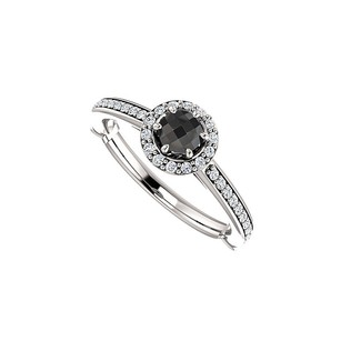 LoveBrightJewelry Sweet And Simple Black Onyx And Cz Halo Ring Silver