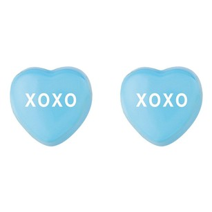 LoveBrightJewelry Sweethearts Blue Enamel Xoxo Heart Shaped Earrings In Sterling Silver Valentines Day Jewelry