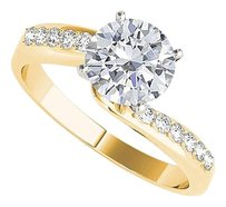 LoveBrightJewelry Swirl Design CZ Engagement Ring 18K Yellow Gold Vermeil