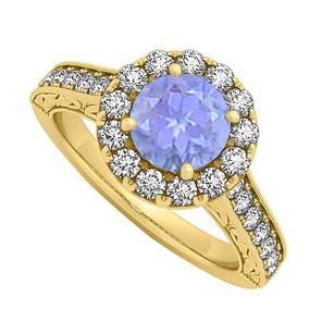 LoveBrightJewelry Tanzanite And Cz Halo Engagement Ring In 18k Yellow Gold Vermeil 1.50 Ct Tgw