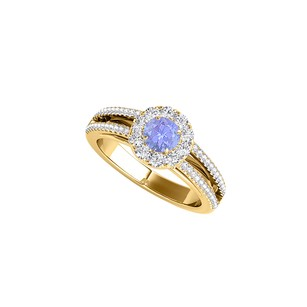 LoveBrightJewelry Tanzanite And Cz Halo Ring In 18k Yellow Gold Vermeil