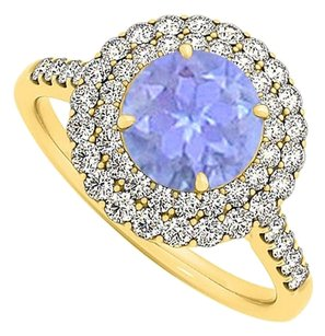 LoveBrightJewelry Tanzanite and CZ Ring in Yellow Gold Vermeil 1.75 TGW