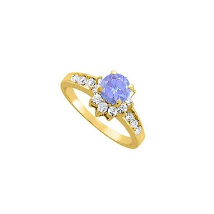 LoveBrightJewelry Tanzanite Diamonds Engagement Ring In 14k Yellow Gold
