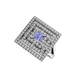 LoveBrightJewelry Tanzanite Triple Halo CZ Square Ring Sterling Silver