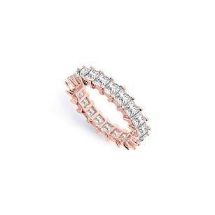 LoveBrightJewelry Three And Half Carat Cubic Zirconia Eternity Band In 14k Rose Gold Fourth Wedding Anniversary Je