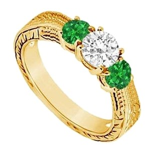 LoveBrightJewelry Three Stone Created Emerald and Cubic Zirconia Ring Yellow Gold Vermeil 0.33 CT TGW