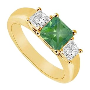 LoveBrightJewelry Three Stone Created Emerald and Cubic Zirconia Ring Yellow Gold Vermeil 0.50 CT TGW