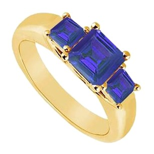 LoveBrightJewelry Three Stone Created Sapphire Ring Yellow Gold Vermeil 0.50 CT TGW