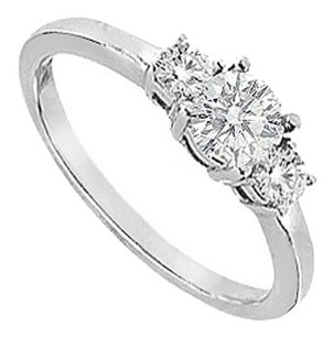 LoveBrightJewelry Three Stone Cubic Zirconia Engagement Ring Sterling Silver 0.75 CT CZs