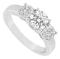 LoveBrightJewelry Three Stone Cubic Zirconia Ring 925 Sterling Silver 1.00 CT TGW