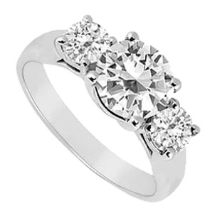 LoveBrightJewelry Three Stone Cubic Zirconia Ring in 925 Sterling Silver