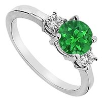 LoveBrightJewelry Three Stone Frosted Emerald and Cubic Zirconia Engagement Ring 925 Sterling Silver 1.25 CT TGW