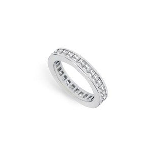 LoveBrightJewelry Two Carat Cubic Zirconia Eternity Band In 14k White Gold Second And Third Wedding Anniversary Je