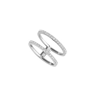 LoveBrightJewelry Two Parallel Band Style Designer CZ Ring 14K White Gold