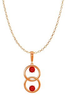 LoveBrightJewelry Two Stone Rubies Double Circle Pendant 14K Rose Gold