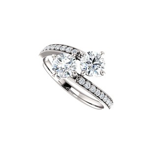 LoveBrightJewelry Union Of Hearts Two Stone Designer Cz Ring For Love