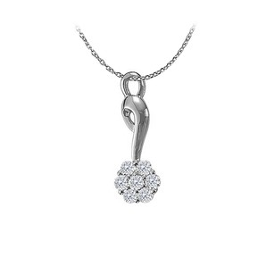 LoveBrightJewelry Uniquely Designed Cubic Zirconia Flower Pendant In Sterling Silver April Birthstone Gift