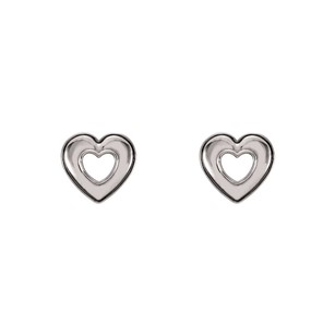LoveBrightJewelry Valentine Special 14K White Gold Heart Stud Earrings