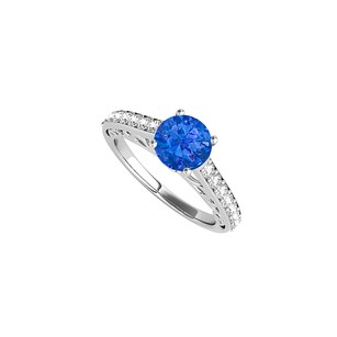 LoveBrightJewelry White Gold Engagement Ring With Round Sapphire Cz
