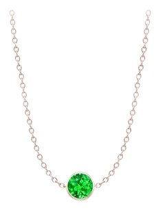 LoveBrightJewelry Yard Frosted Emerald Necklace on 14K Rose Gold Bezel Set 1.00 ct.tw