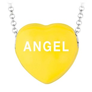LoveBrightJewelry Yellow Angel Heart Pendant Necklace With Rhodium Rolo Chain From Sweethearts Collection