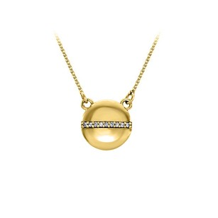 LoveBrightJewelry Yellow Gold Diamond Circle Necklace Lobster Clasp Chain