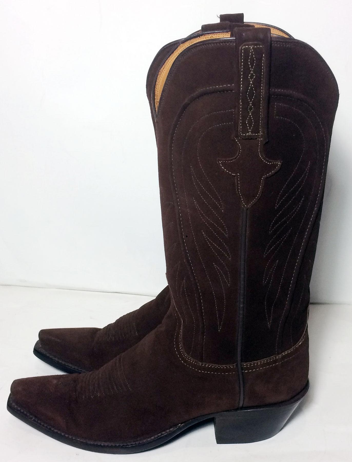 Lucchese Brown 1883 Suede Leather Western Cowgirl Cowboy Womens Boots Booties  Size US 65 Regular M B  Tradesy