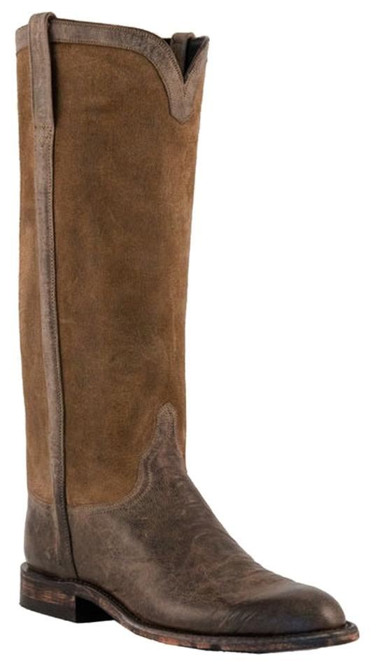 lucchese olive brown goat suede boots booties size