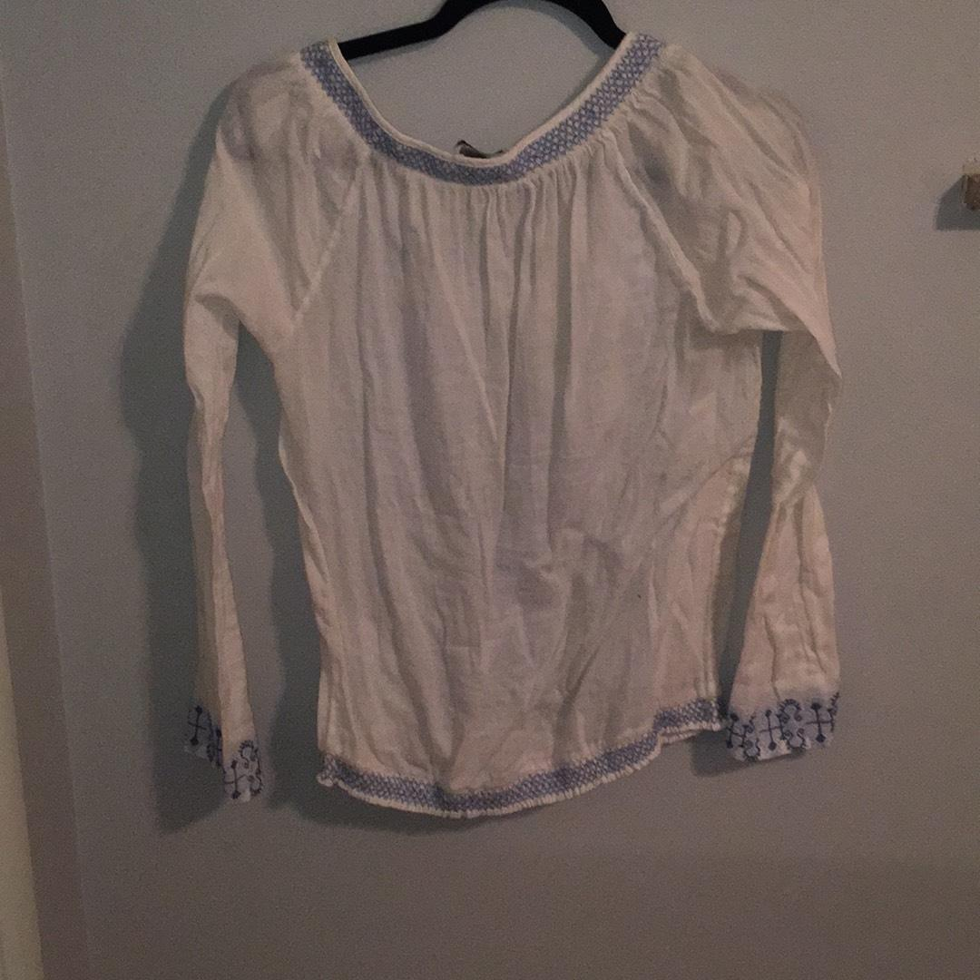 Lucky Brand White Peasant Blouse Size 4 (S)