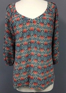 Lucky Brand Lucky Blue Red Floral Print Cotton Quarter Sleeve Boho Sm3046 Tunic
